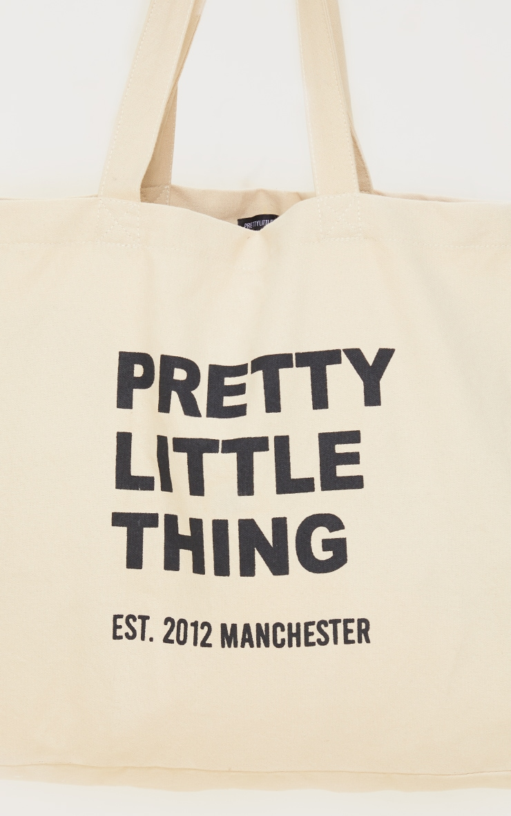 PRETTYLITTLETHING Sand Oversized Tote Bag 3