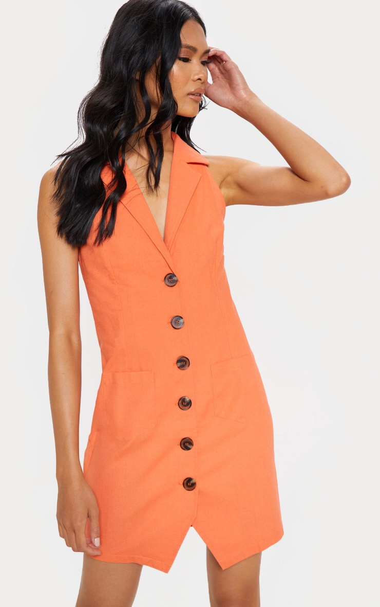 Tangerine Sleeveless Button Front Blazer Bodycon Dress 4