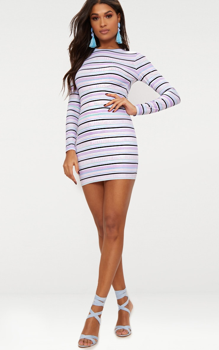 PRETTYLITTLETHING Lilac Long Sleeve Bodycon Dress 5