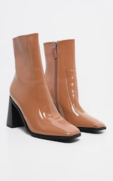6fadf5bb48c4 Taupe Patent Square Toe Block Heel Ankle Boot image 3