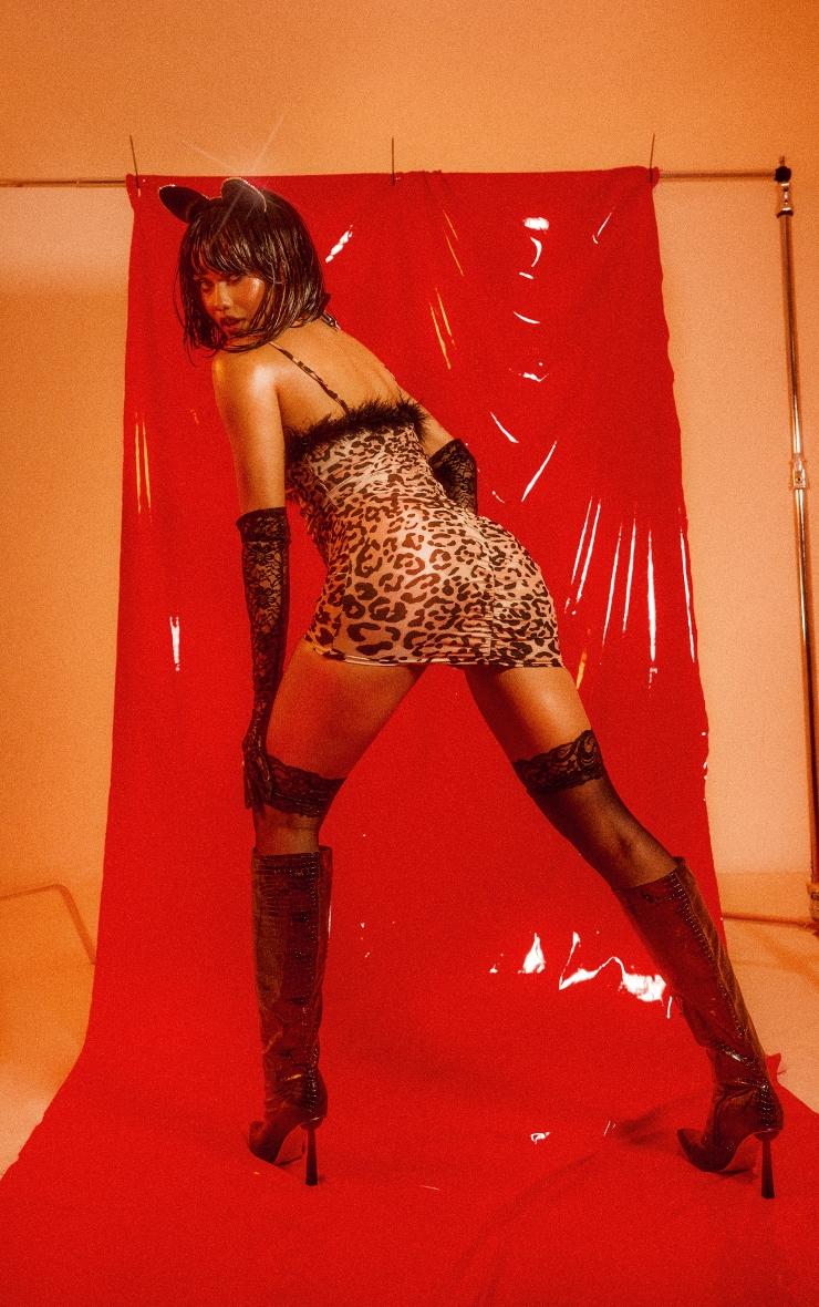 Leopard Print Strappy Feather Trim Bodycon Dress 3