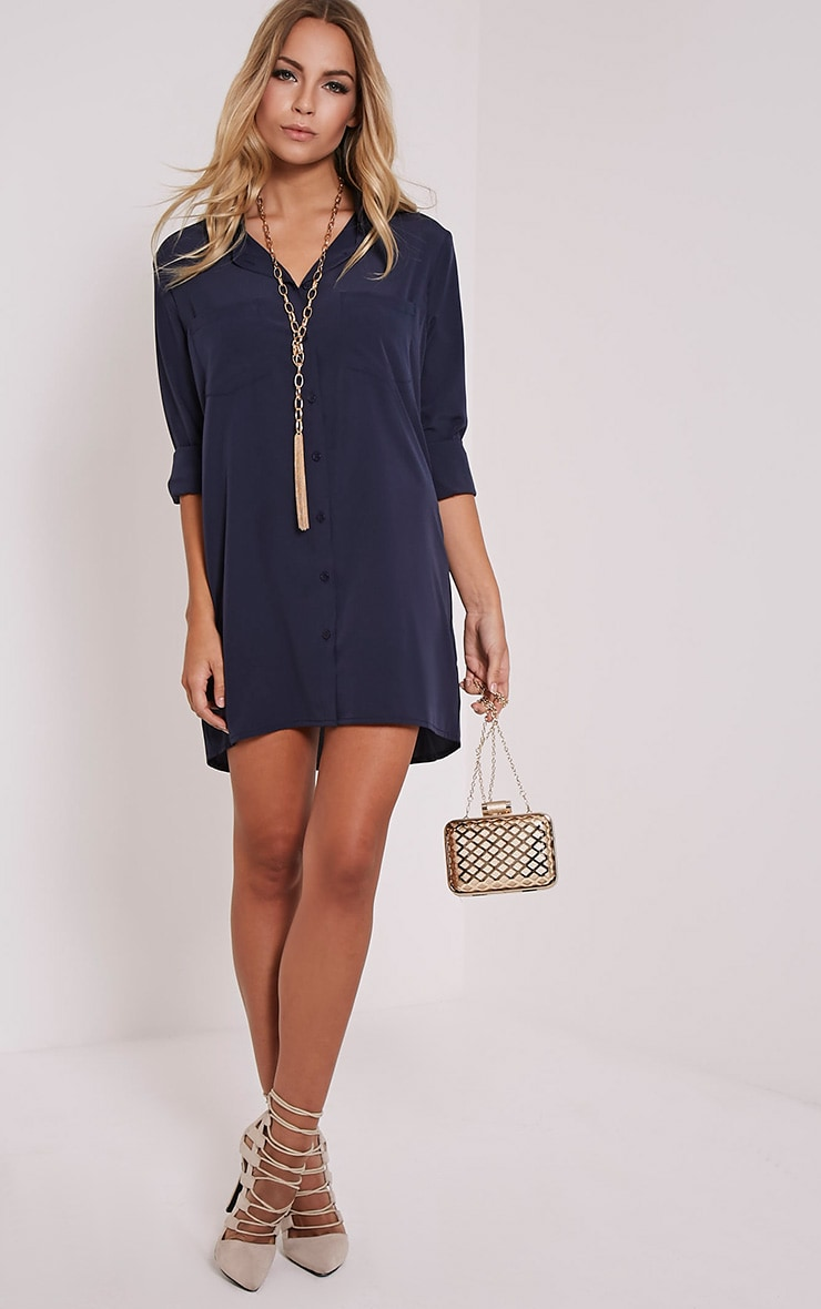 Effy Navy Shirt Dress 1