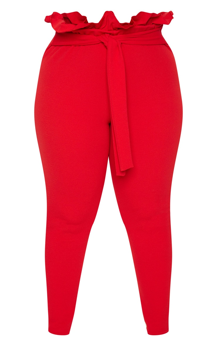Plus Red Paperbag Skinny Trousers 3