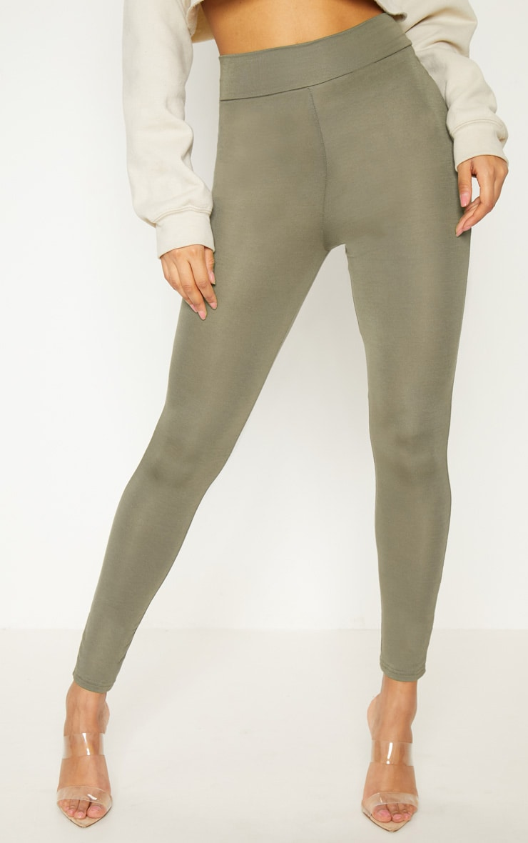 Basic Khaki High Waisted Jersey Legging 2