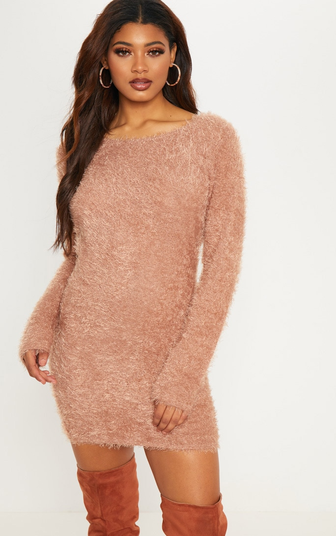 Tall Brown Fluffy Knit Jumper Dress 1