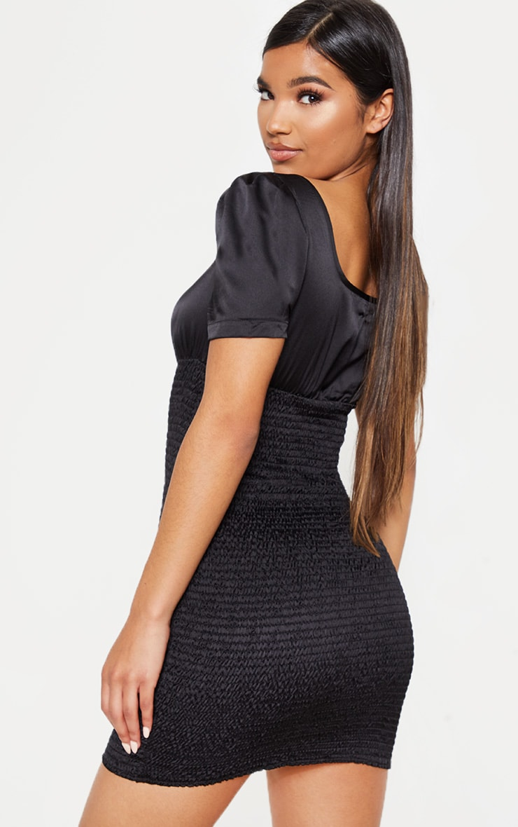 Black Print Shirring Square Neck Bodycon Dress 2