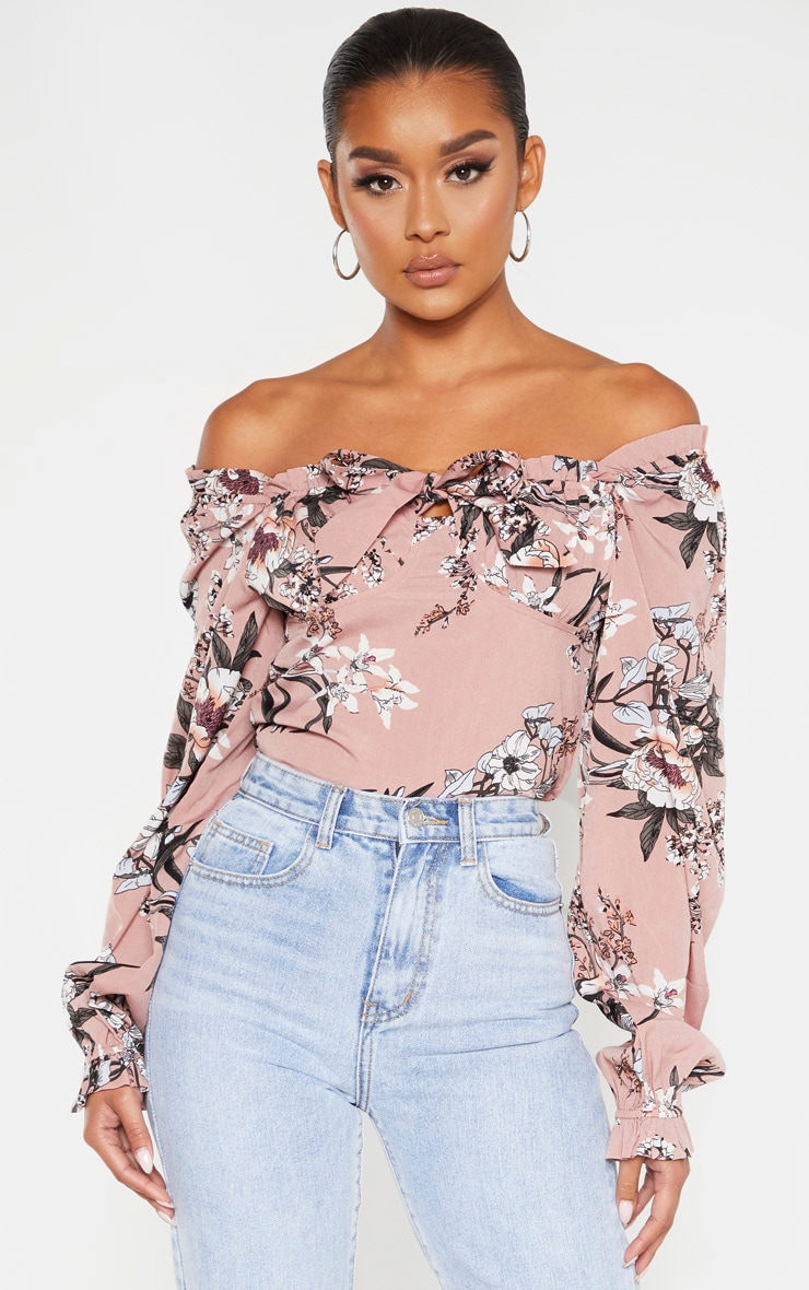 Pink Floral Woven Bardot Cropped Blouse 1
