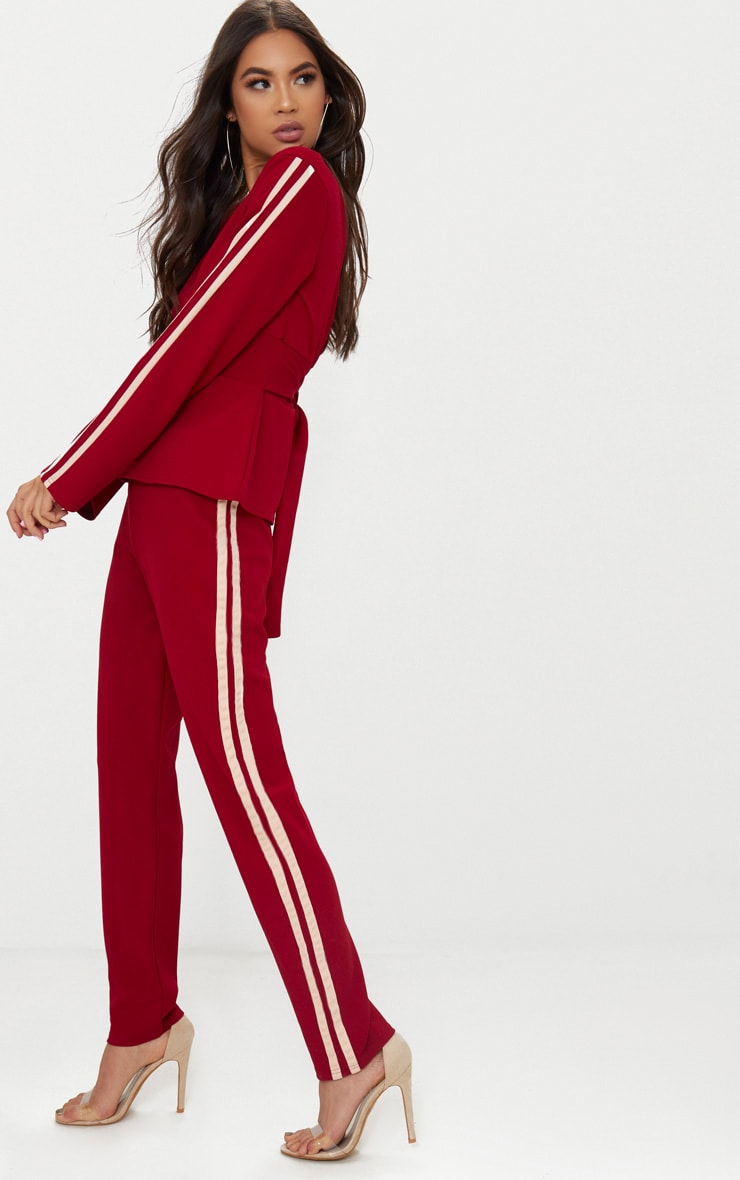 Burgundy Track Stripe Trousers 1