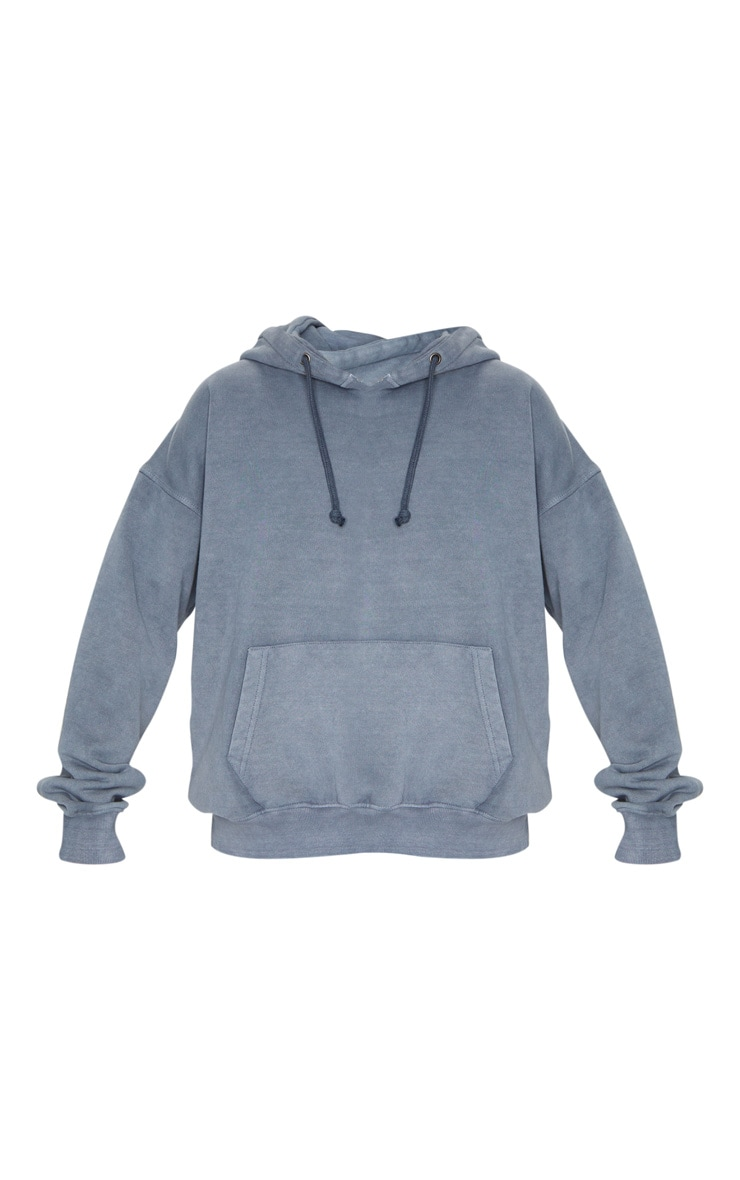 Charcoal Grey Oversized Washed Hoodie 5