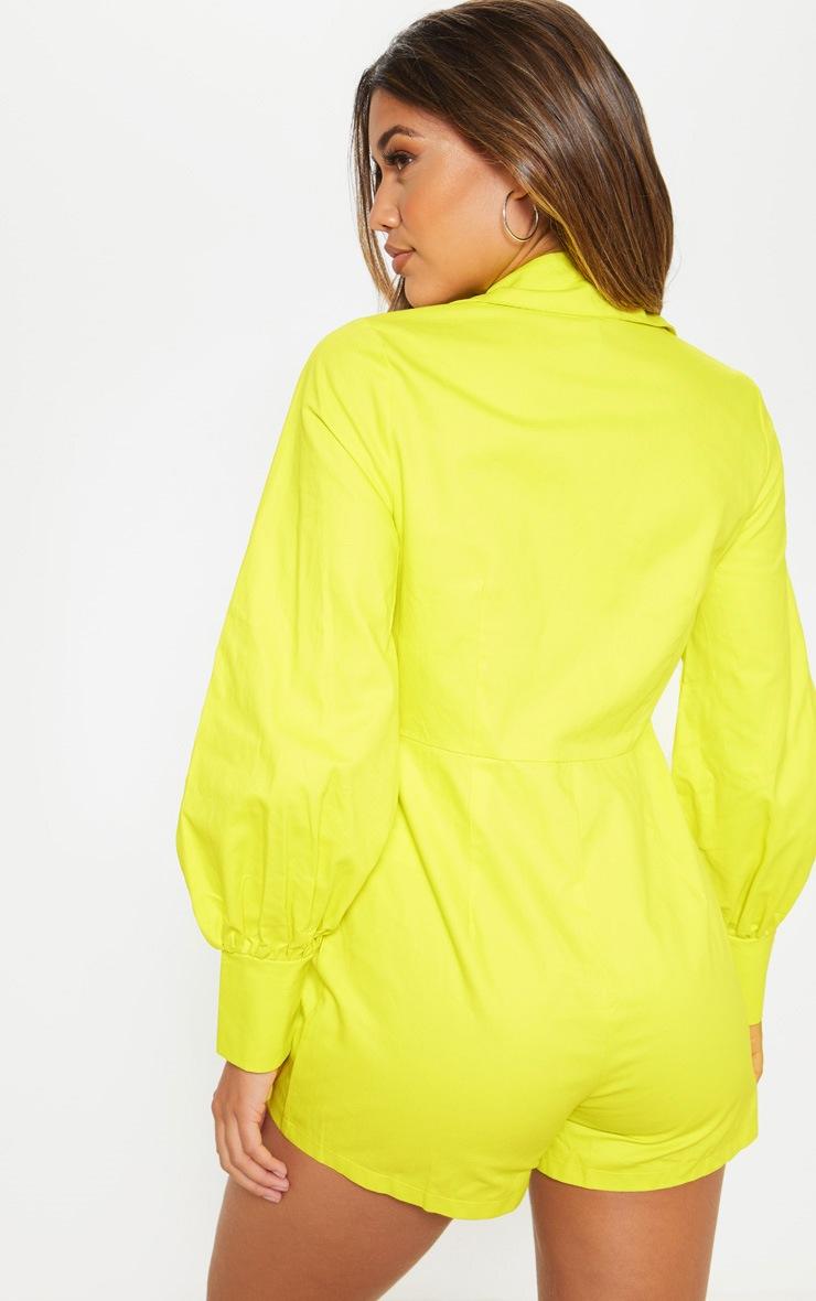 Combishort vert citron fluo à manches longues et détail chemise à boutonner 2