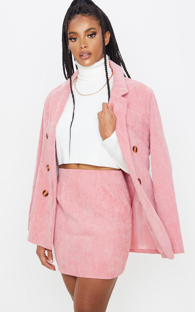 Pink Cord Mini Skirt 1