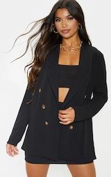 Black Oversized Button Detail Blazer 4