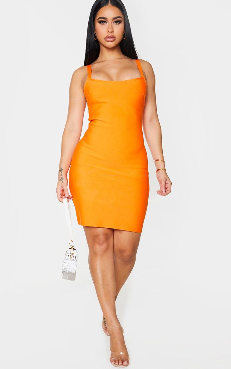 Shape Orange Bandage Strappy Bodycon Dress 3