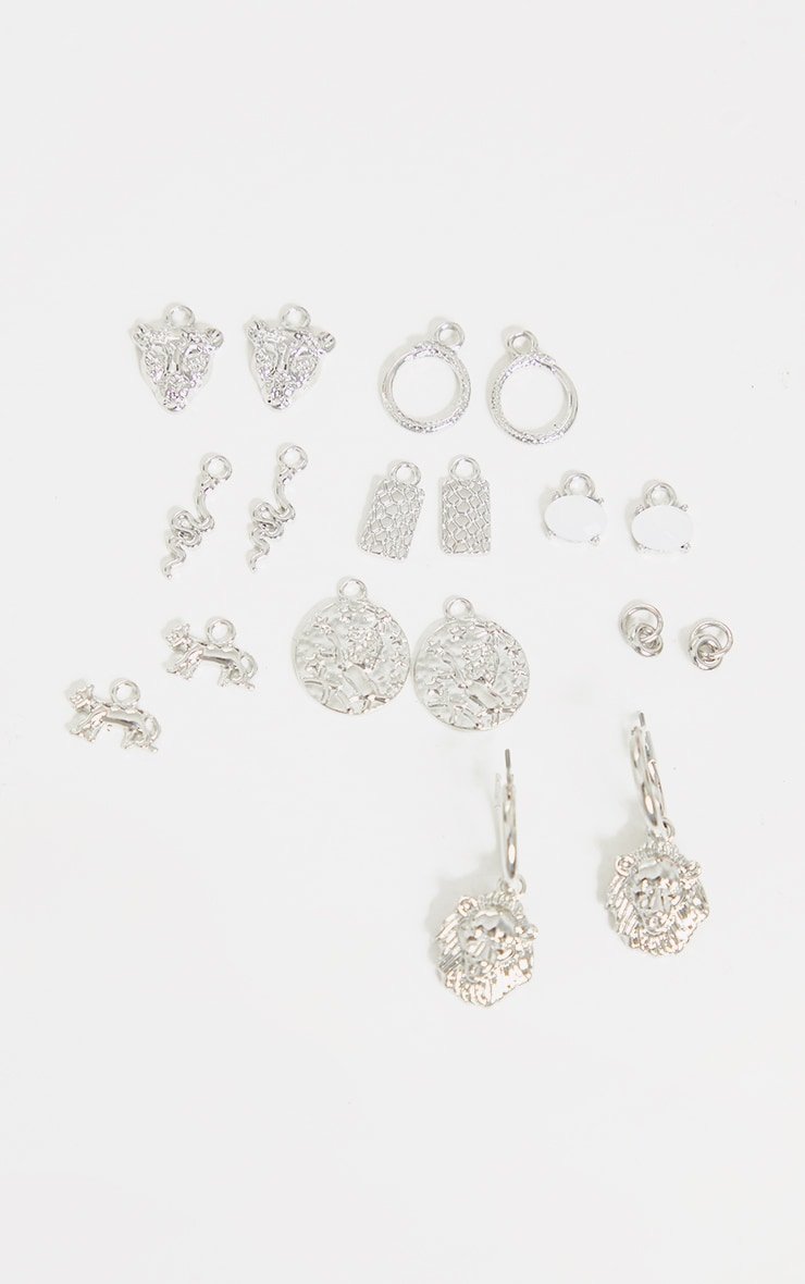 Silver Assorted Mix And Match Hoop Earrings 1
