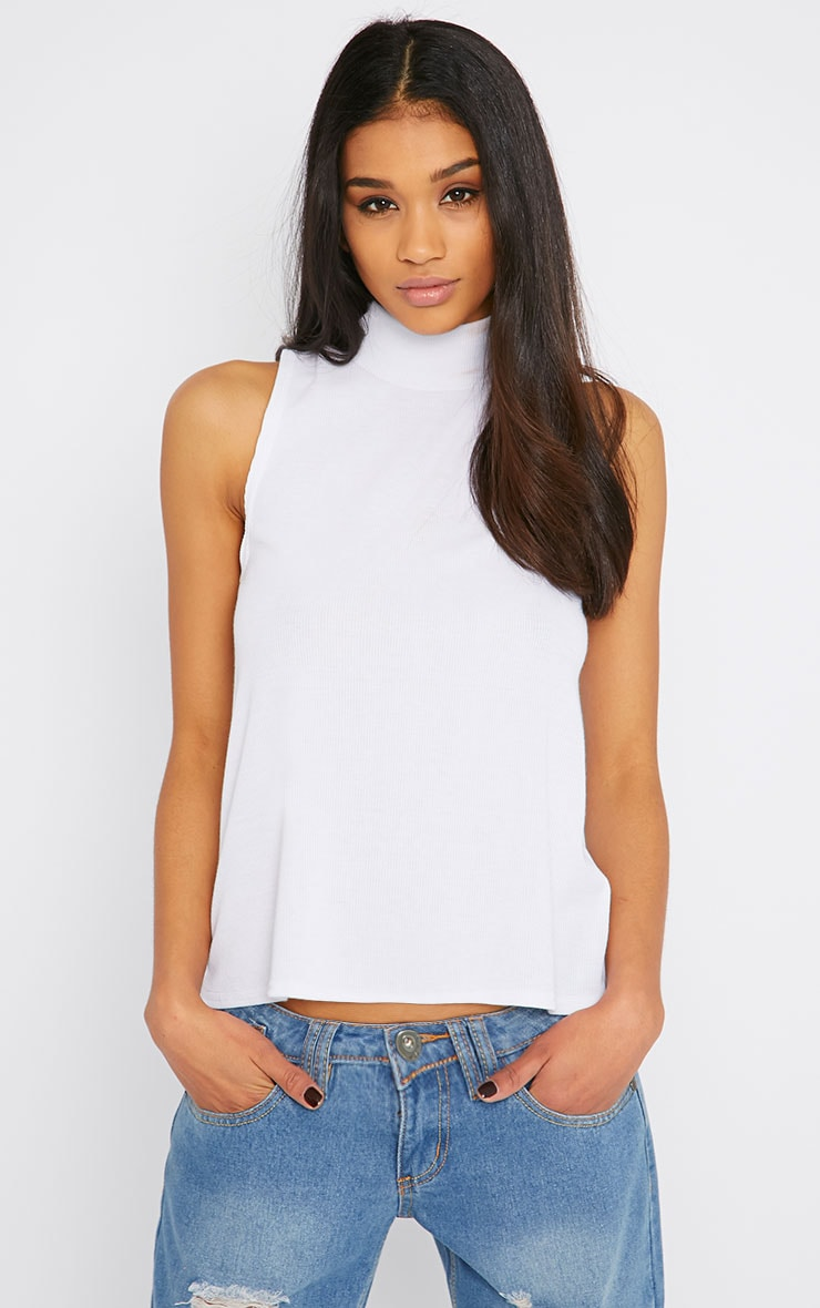 Basic White Sleeveless Turtle Neck Top 1