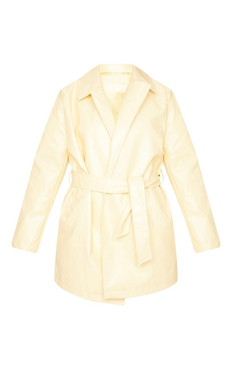 Ecru Faux Leather Long Line Tie Waist Jacket 5