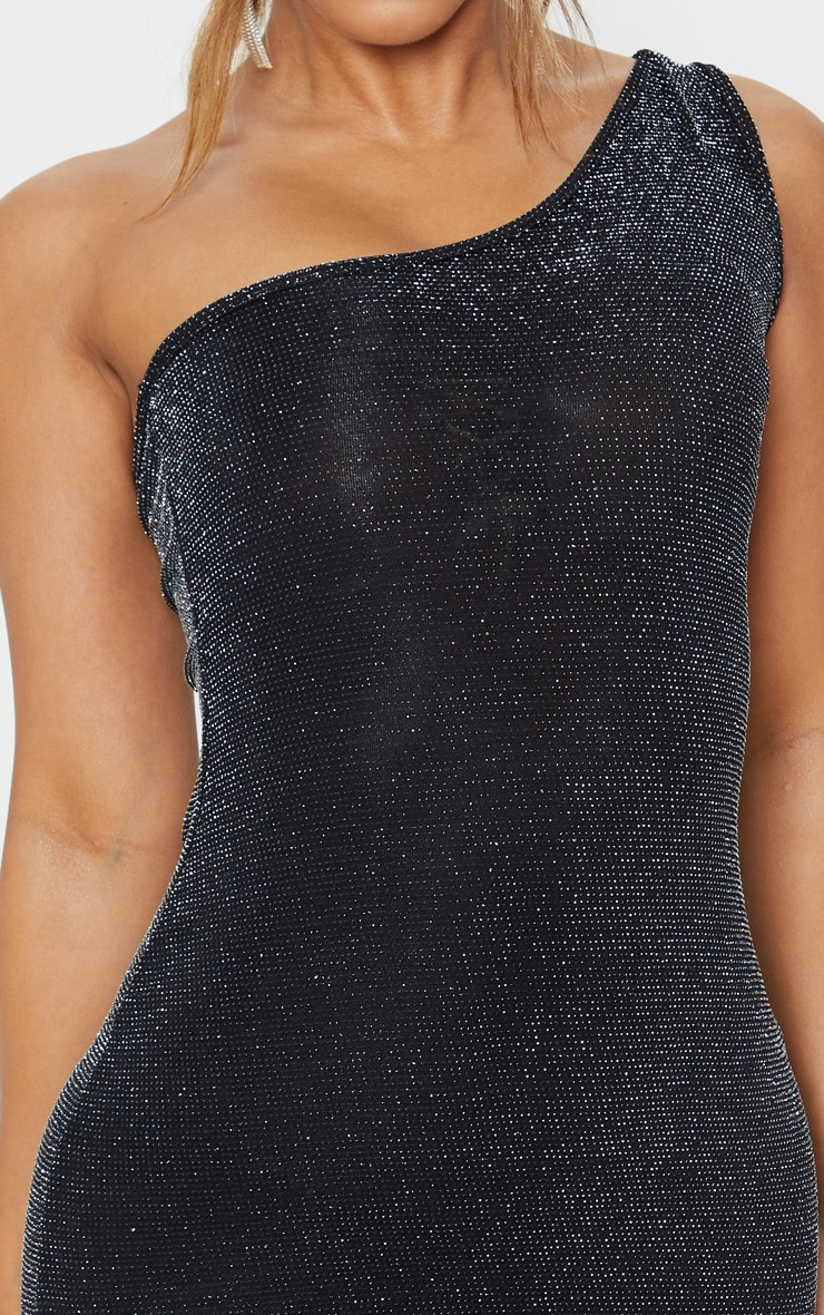 Petite Black One Shoulder Textured Glitter Bodycon Dress  5