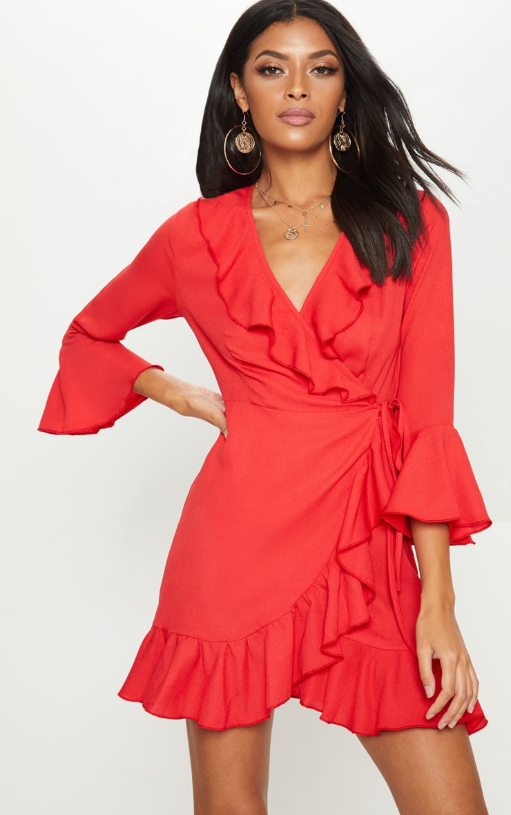 Red Frill Wrap Tea Dress 1