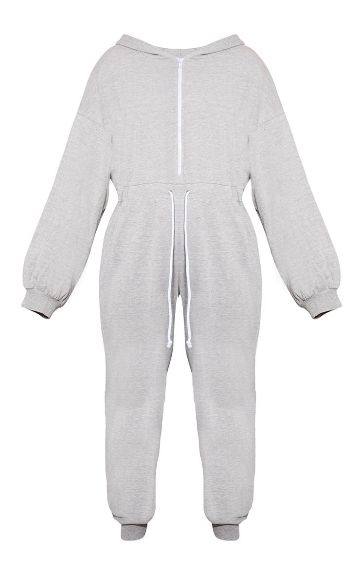Plus Grey Long Sleeve Hooded Sweat Jumpsuit  3