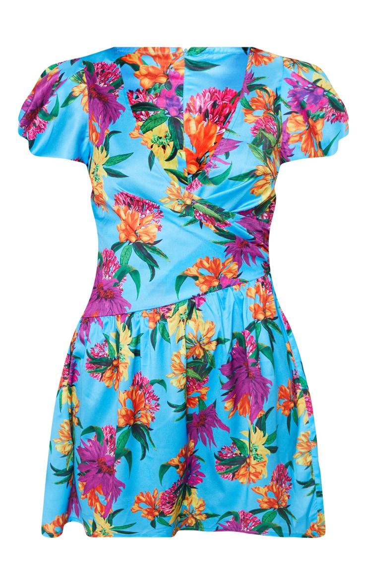 Turquoise Floral Printed Drop Hem Puff Sleeve Tea Dress 3