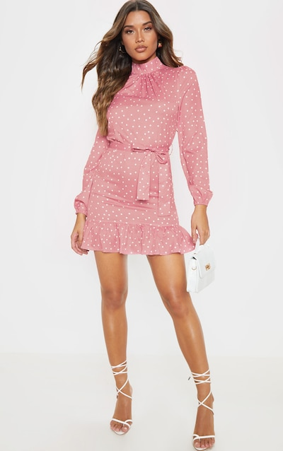 Pink Polka Dot High Neck Long Sleeve Smock Dress