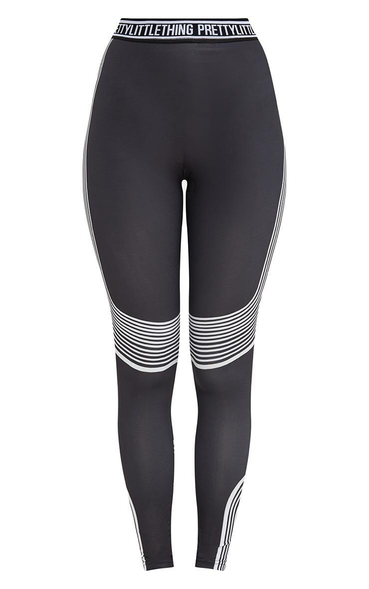 PRETTYLITTLETHING Black Contour Stripe Leggings 4