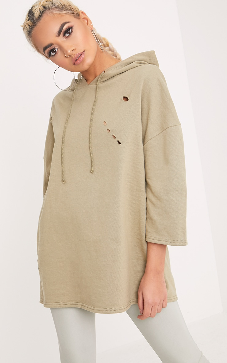 Lotty Pale Khaki Distressed Short Sleeve Hoodie  1