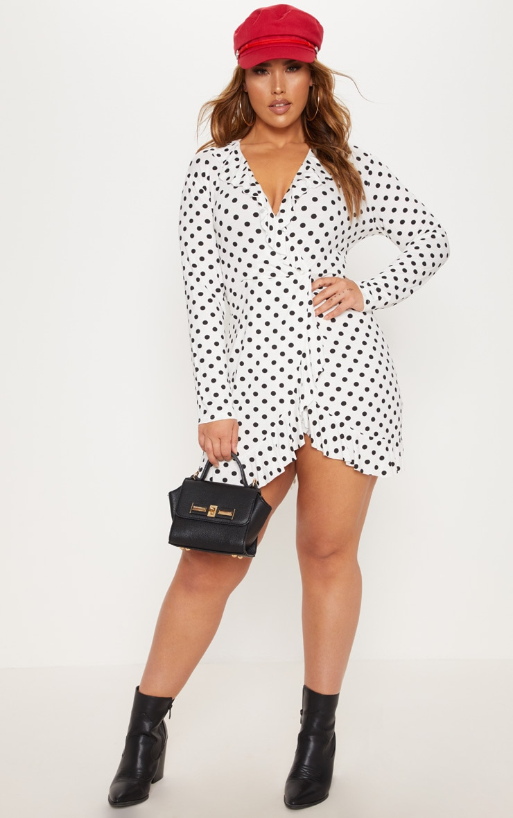 Plus White Polka Dot Frill Dress 4