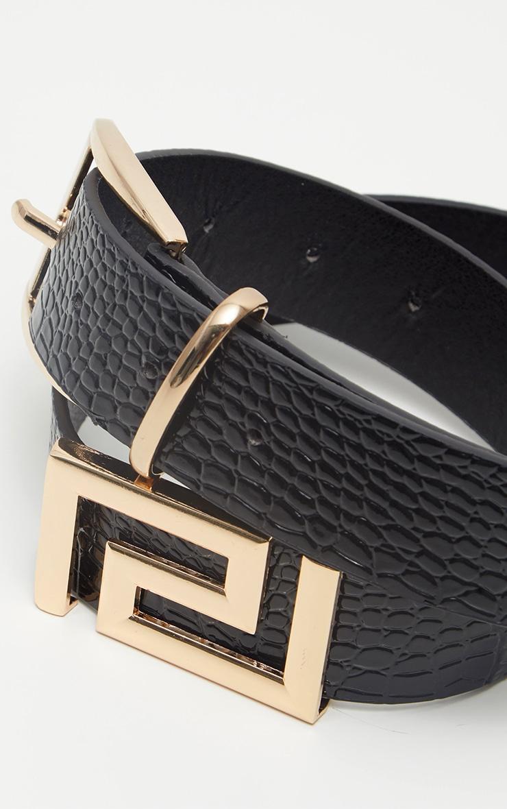 Black Geo Croc Belt 4