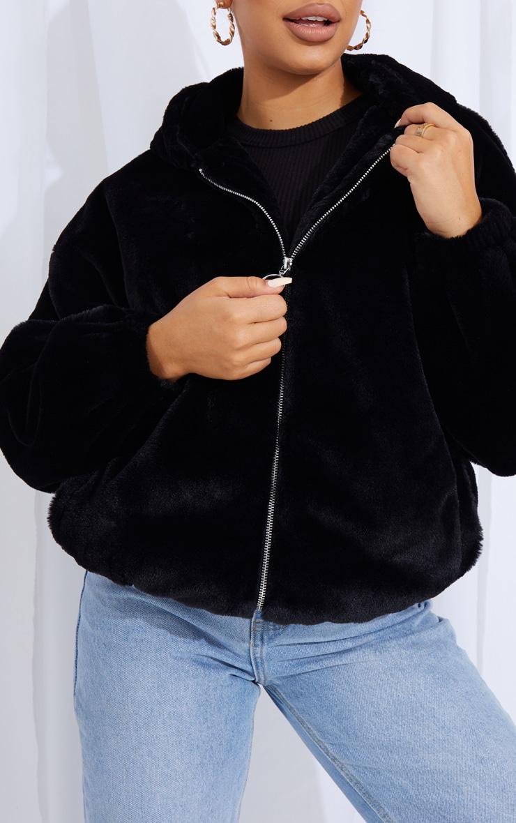 Black Faux Fur Balloon Sleeve Hooded Jacket 4