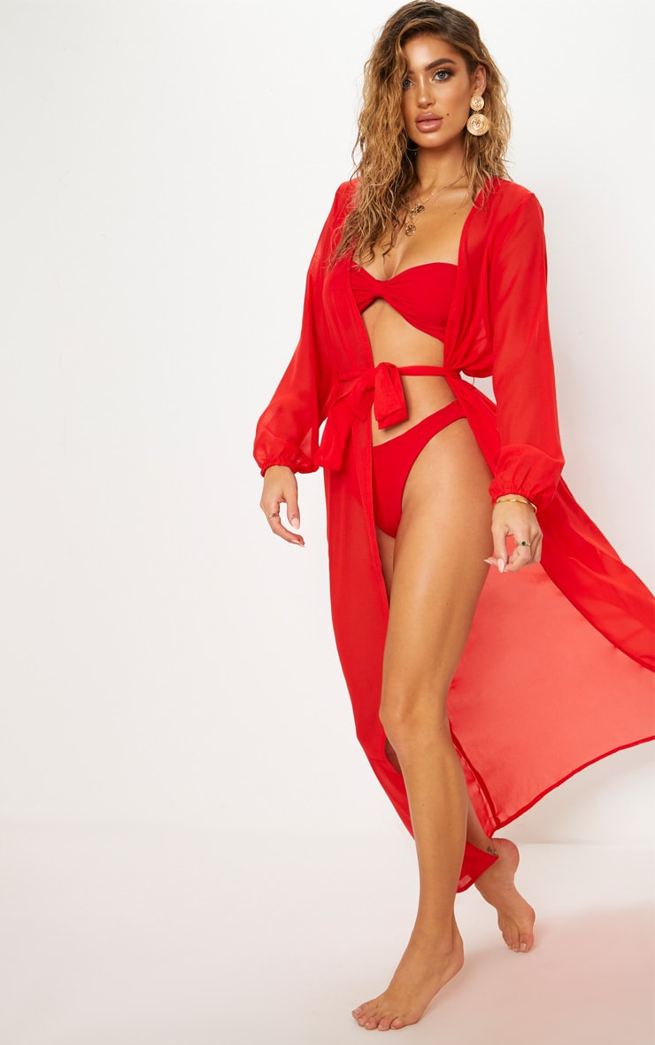 Red Maxi Belted Beach Kimono 3