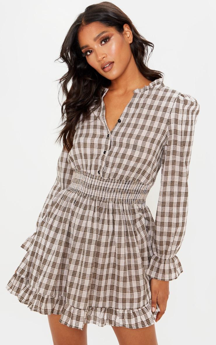 Beige Check Print Shirred Waist Shirt Dress 1
