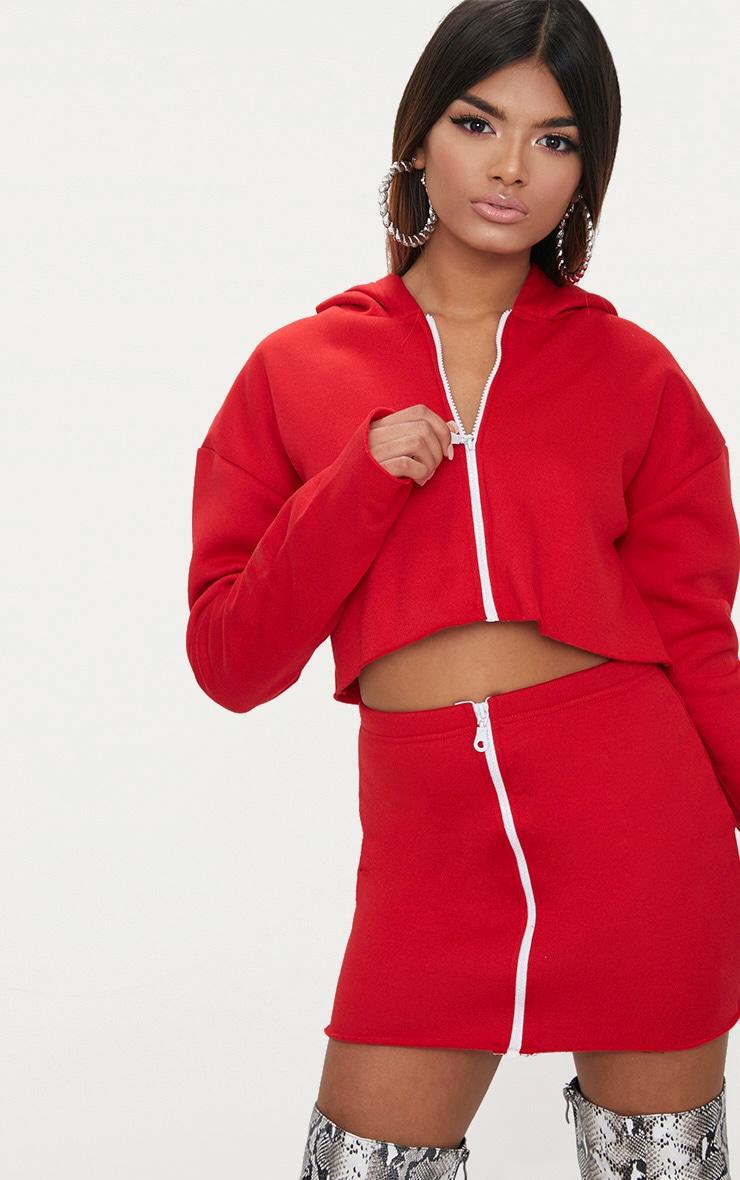 Petite Red Zip Up Cropped Hoodie 1