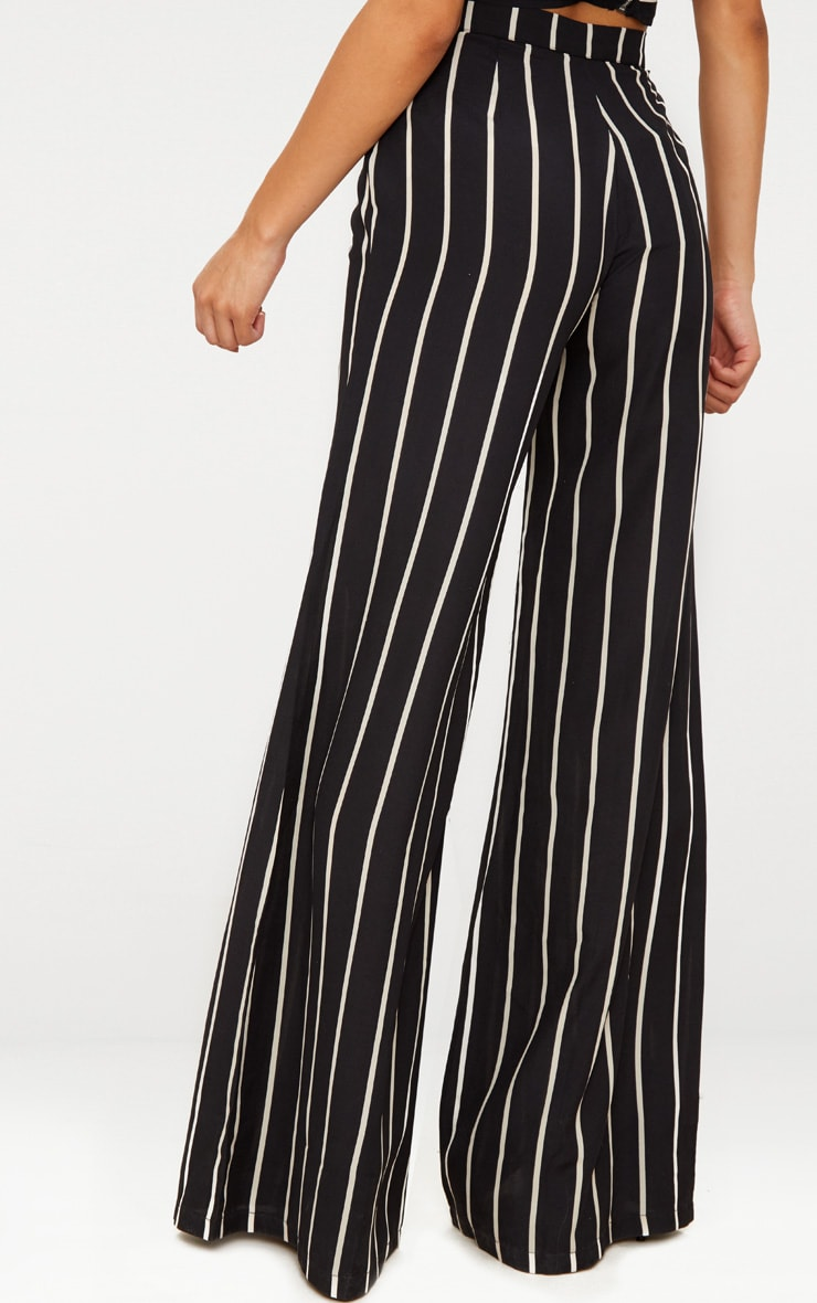 Black Striped Wide Leg Trousers 4