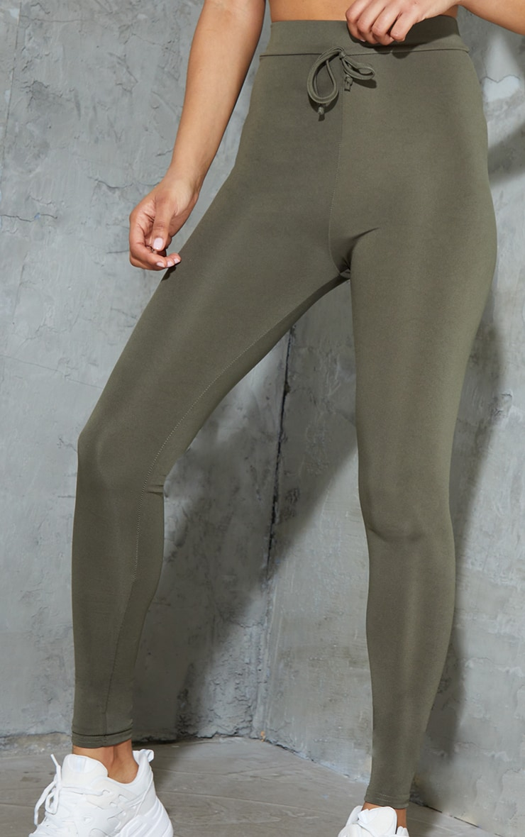 Khaki Tie Front Sports Leggings 4