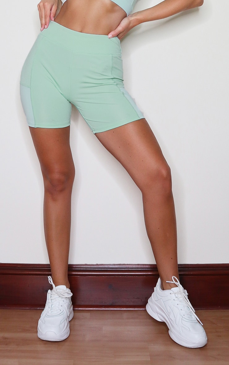 Sage Green Colour Block Gym Booty Shorts 2