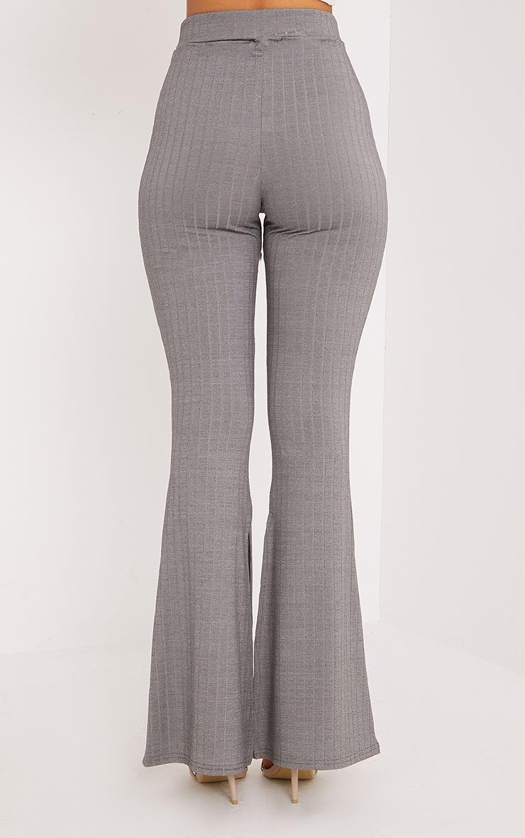 Soreya Grey Ribbed Inside Split Wide Leg Trousers  3