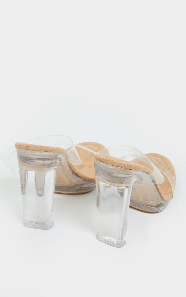 Sand Mule Clear Flat High Heel 4