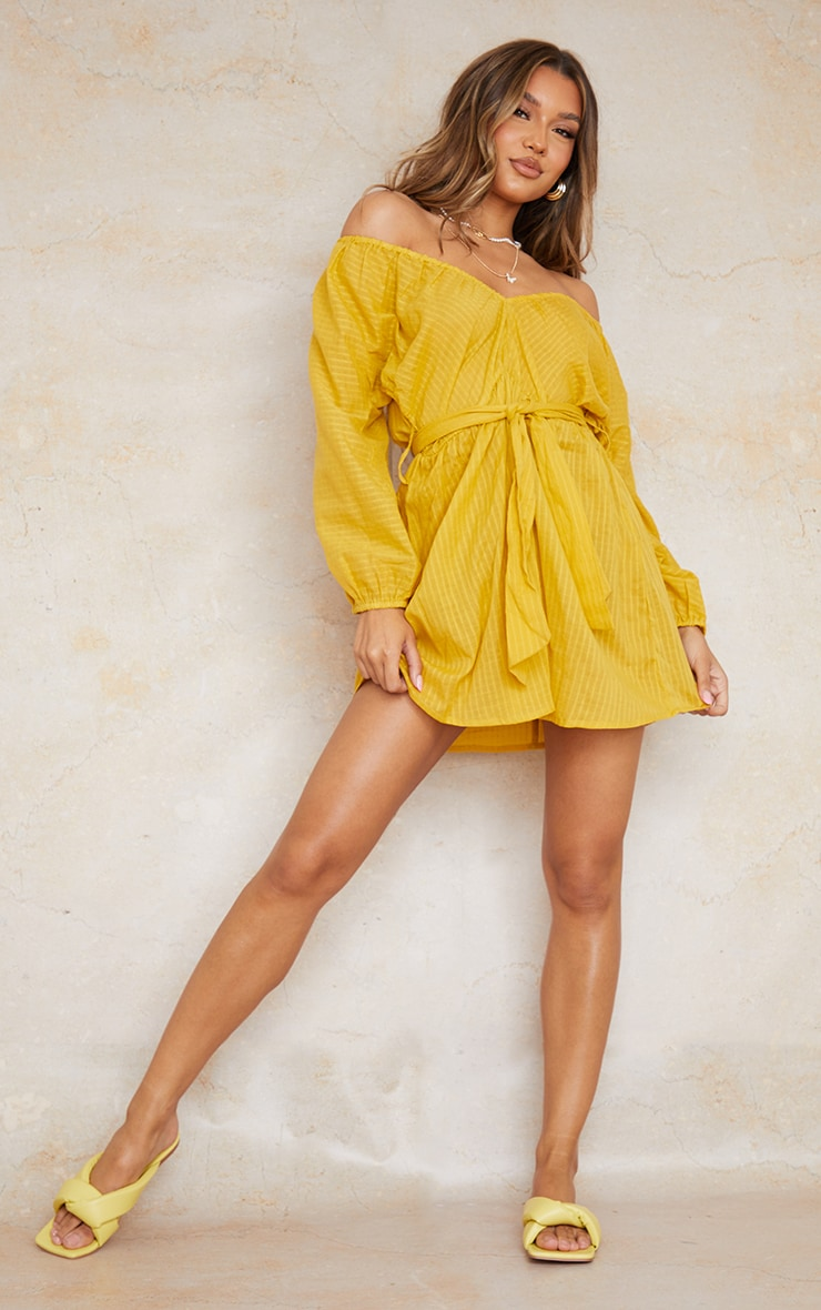 Yellow Woven Off The Shoulder Tie Waist Shift Dress 3