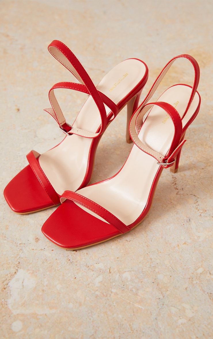 Red PU Square Toe Barely There Strappy High Heels 3
