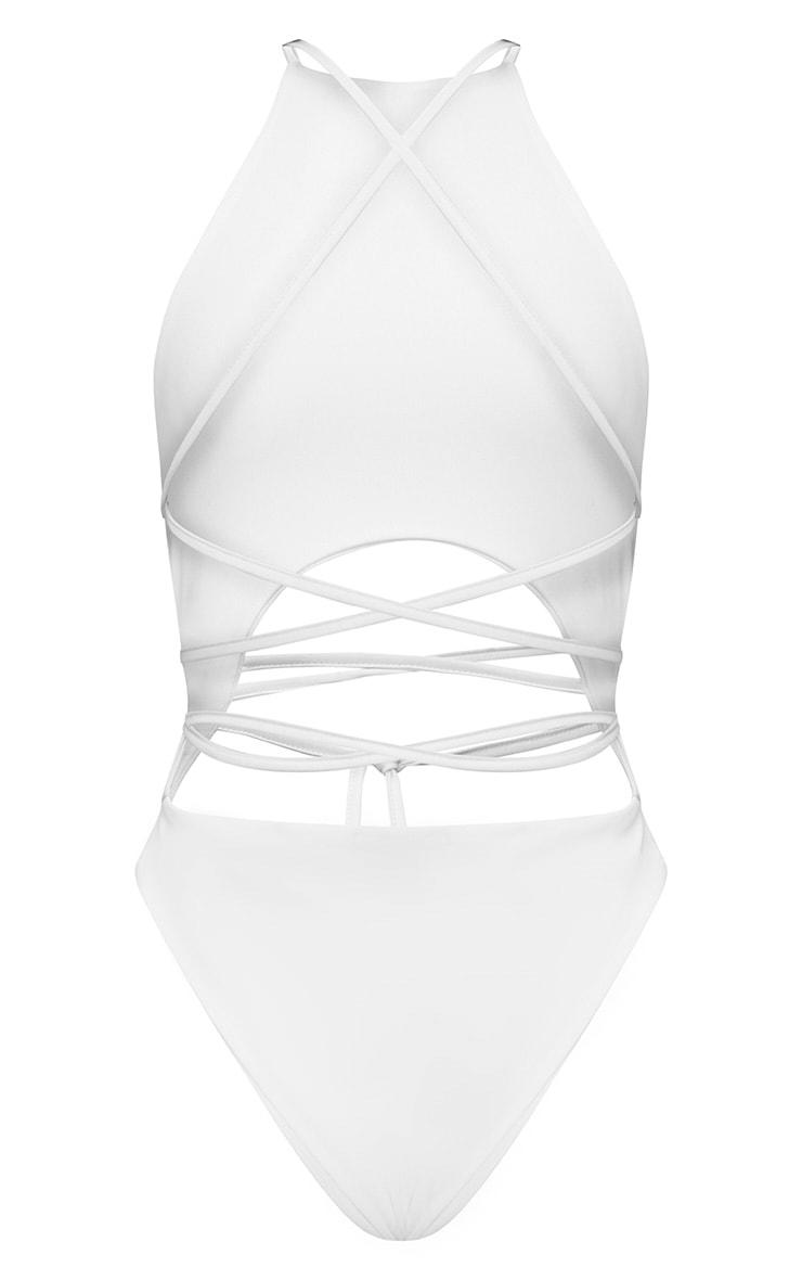 White High Rise Wrap Around Swimsuit 4