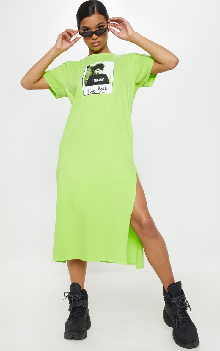 Washed Lime Too Late Slogan Oversized Midi Dress 1