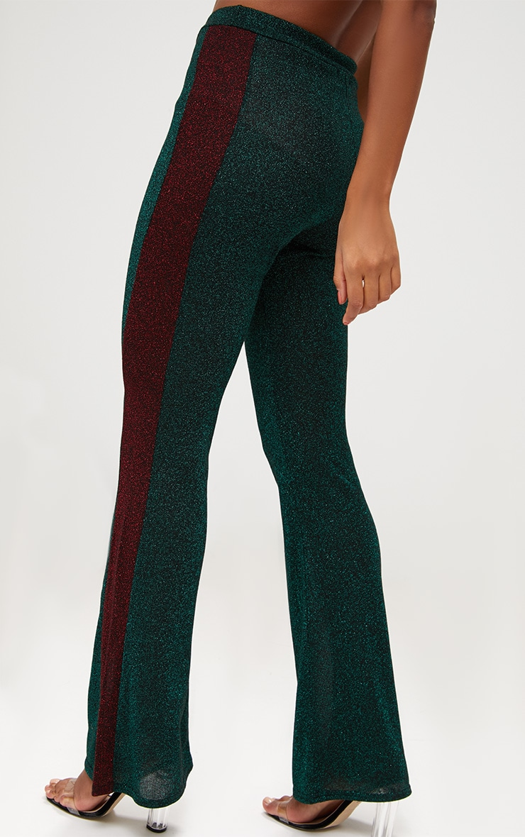 Emerald Green Metallic Track Stripe Kick Flare Trousers 5