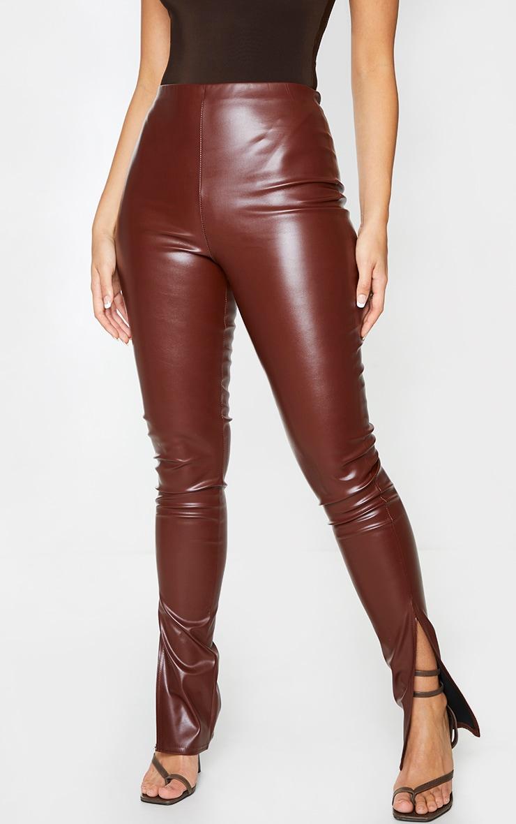 Chocolate Faux Leather Split Hem Leggings 2