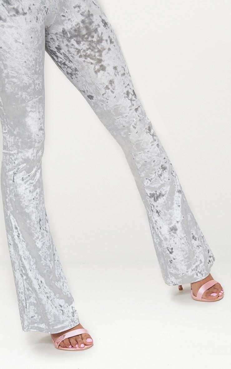 Petite Silver Velvet Flared Trousers 5