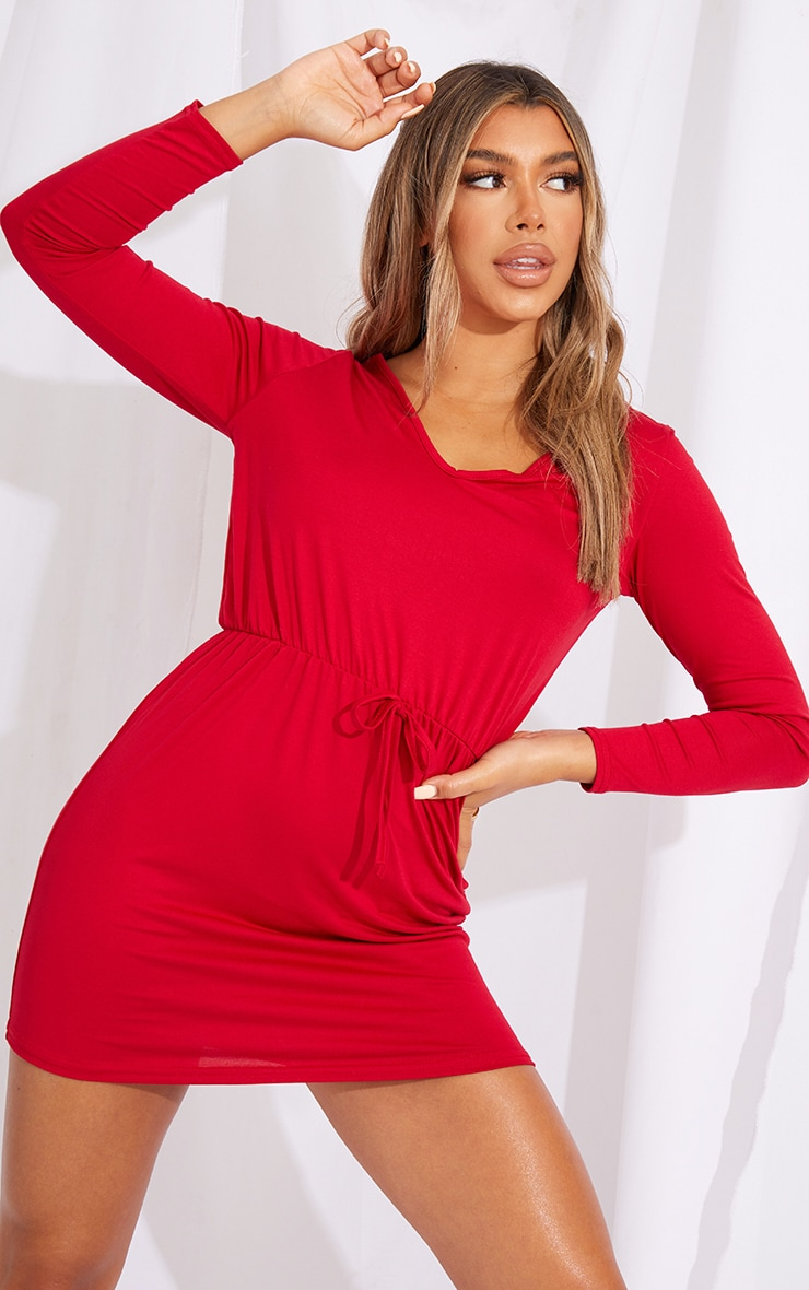 Red Tie Waist Detail Long Sleeve Bodycon Dress 3