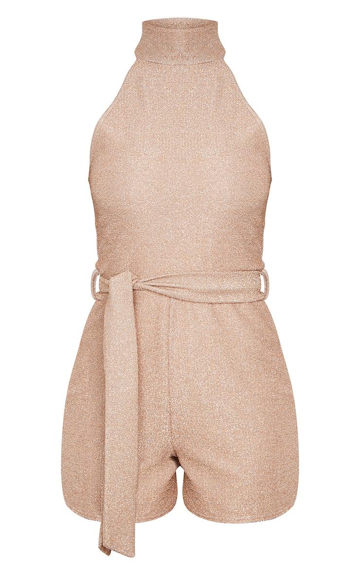 Dusty Pink Glitter High Neck Tie Waist Playsuit 5