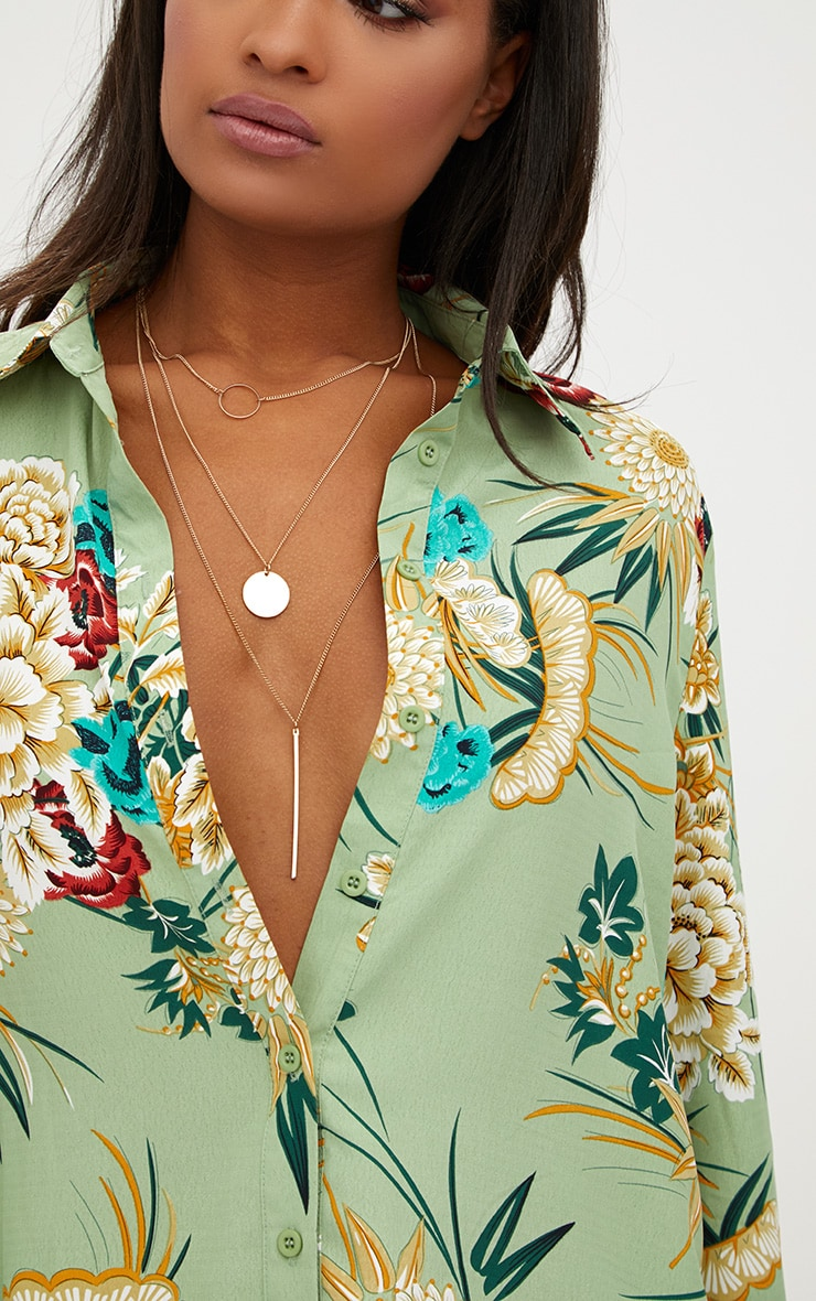 Sage Green Oversized Printed Shirt 5