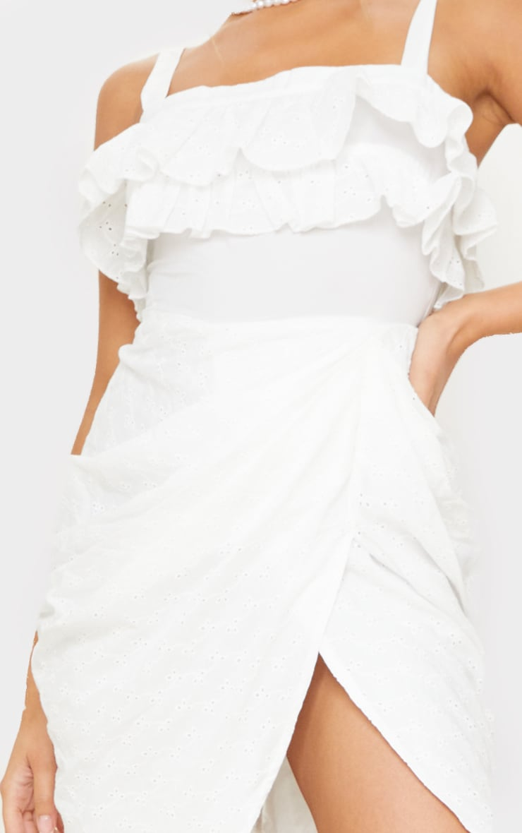 White Broderie Anglaise Strappy Frill Draped Midi Dress 4