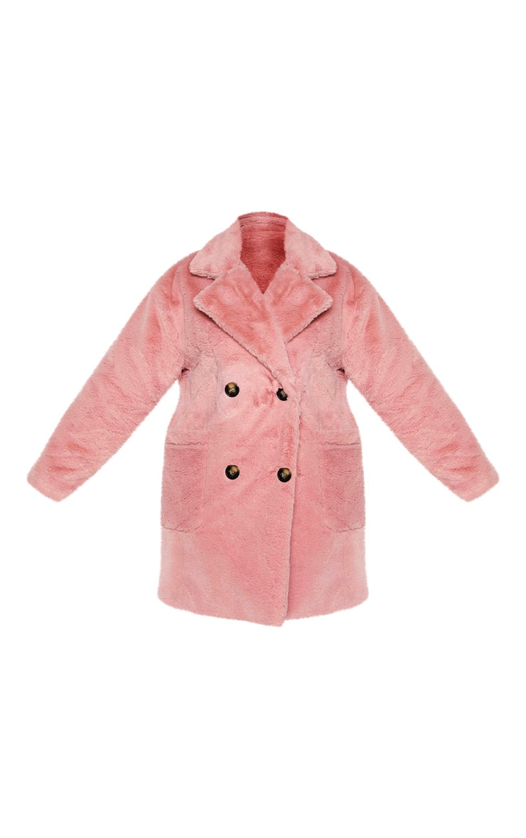 Plus Rose Faux Fur Double Breasted Coat 3